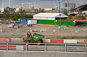 Construction workers at the site of the London 2012 Olympic Games, Stratford.