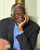 """Former Boston Celtics Captain Bill Russell listens as United States President Barack Obama and first lady Michelle Obama honor him and the other recipients of the 2010 Medal of Freedom, """"the Nation's highest civilian honor presented to individuals who have made especially meritorious contributions to the security or national interests of the United States, to world peace, or to cultural or other significant public or private endeavors"""", in a ceremony in the East Room of the White House in Washington, D.C. on Tuesday, February 15, 2011..Credit: Ron Sachs / CNP"""