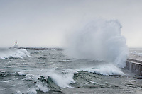 Presque Isle breakwater during a mid-January winter storm. Marquette, MI