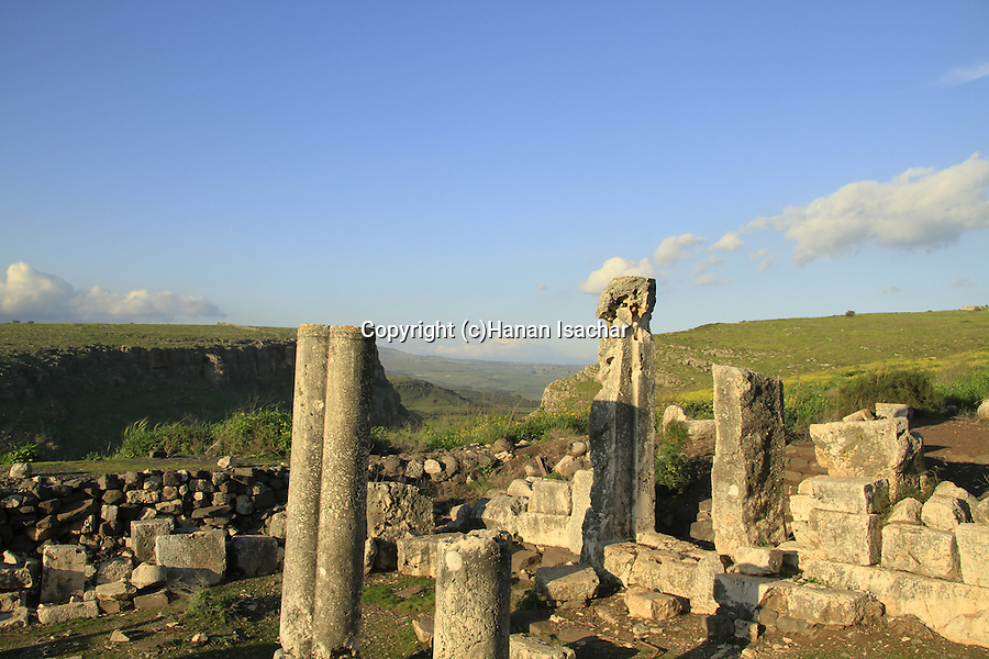Israel, Lower Galilee, ruins of Arbel ancient Synagogue