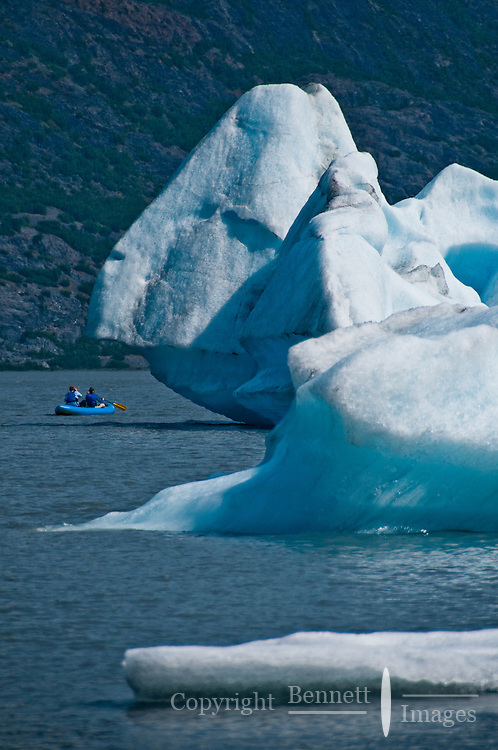 Exploring the lake in an inflatable canoe allows an up close view of the icebergs.
