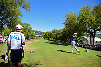Dustin Johnson (USA) watches his tee shot on 11 during round 4 of the World Golf Championships, Dell Technologies Match Play, Austin Country Club, Austin, Texas, USA. 3/25/2017.<br /> Picture: Golffile | Ken Murray<br /> <br /> <br /> All photo usage must carry mandatory copyright credit (&copy; Golffile | Ken Murray)