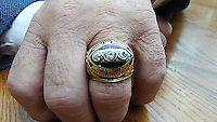 Three diamonds represent three NFL Championships in a row on Jerry Kramer's Super Bowl II ring. The ring has an interesting back story in that Kramer lost the ring on an airplane. Twenty years later, the ring showed up on an auction site and Kramer was able to reclaim it. Meanwhile, he had replaced the ring with a replica from Jostens. This replica was then auctioned off and the proceeds were used to begin the Gridiron Greats organization dedicated to helping former NFL players who had fallen on hard times.