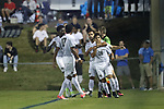 CARY, NC - OCTOBER 06: Wake Forest's Omir Fernandez (16) celebrates his goal with teammates. The University of North Carolina Tar Heels hosted the Wake Forest University Demon Deacons on October 6, 2017 at Koka Booth Field at WakeMed Soccer Park in Cary, NC in a Division I college soccer game.