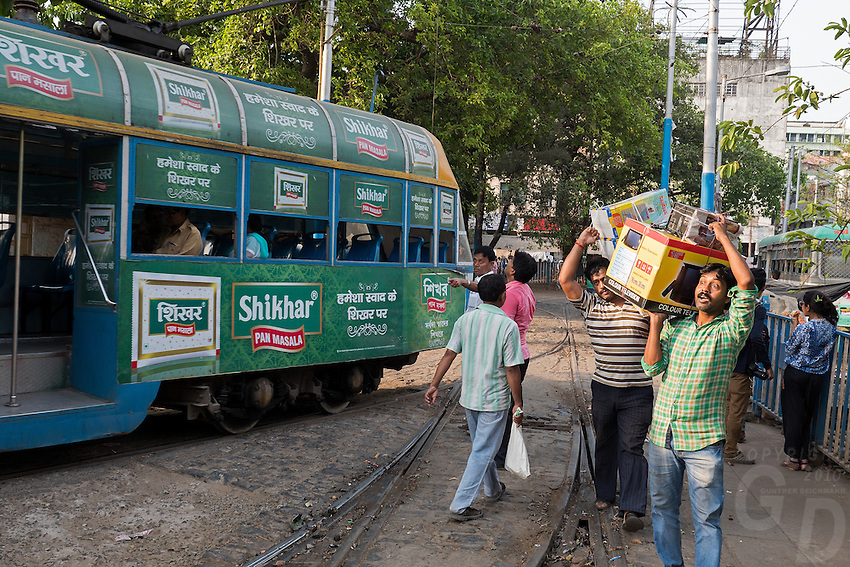 The famous Tram In the streets of Kolkata, West Bengal India