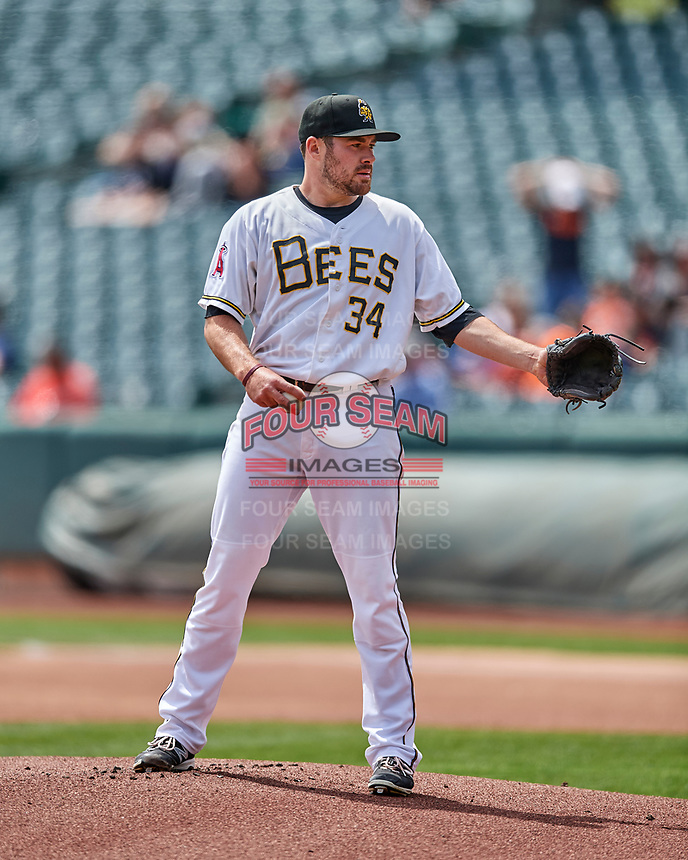 Salt Lake Bees starting pitcher Alex Blackford (34) looks for the sign against the El Paso Chihuahuas in Pacific Coast League action at Smith's Ballpark on April 30, 2017 in Salt Lake City, Utah. El Paso defeated Salt Lake 3-0. This was Game 1 of a double-header. (Stephen Smith/Four Seam Images)