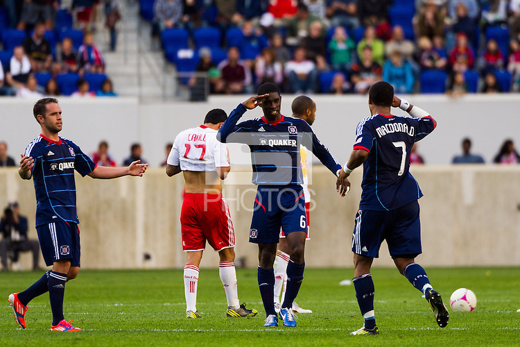 Sherjill MacDonald (7) of the Chicago Fire celebrates scoring with Jalil Anibaba (6). The Chicago Fire defeated the New York Red Bulls 2-0 during a Major League Soccer (MLS) match at Red Bull Arena in Harrison, NJ, on October 06, 2012.