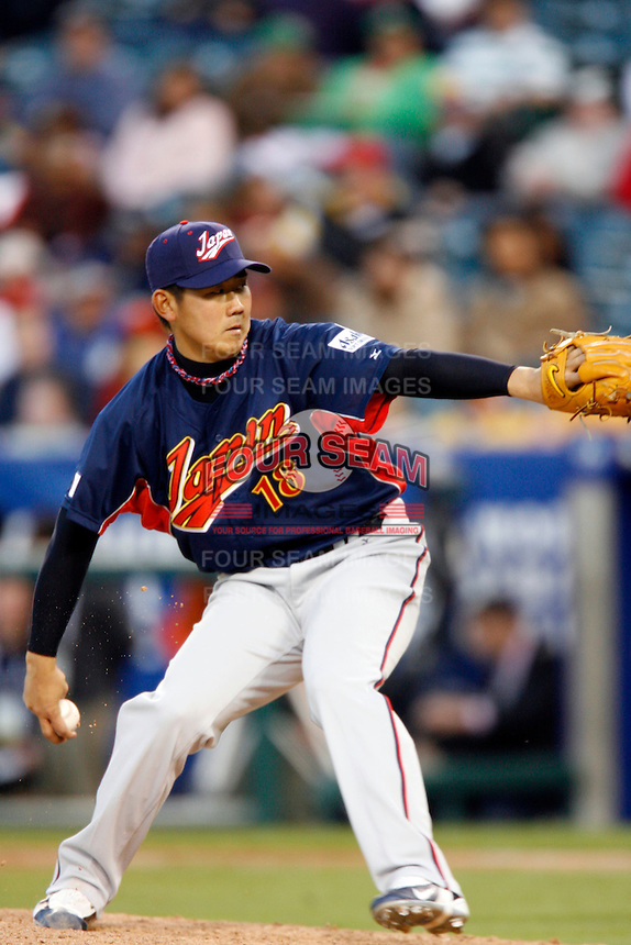 Daisuke Matsuzaka of Japan during World Baseball Championship at Petco Park in San Diego,California on March 14, 2006. Photo by Larry Goren/Four Seam Images