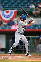 St. Lucie Mets left fielder Gene Cone (9) at bat during a game against the Florida Fire Frogs on April 19, 2018 at Osceola County Stadium in Kissimmee, Florida.  St. Lucie defeated Florida 3-2.  (Mike Janes/Four Seam Images)
