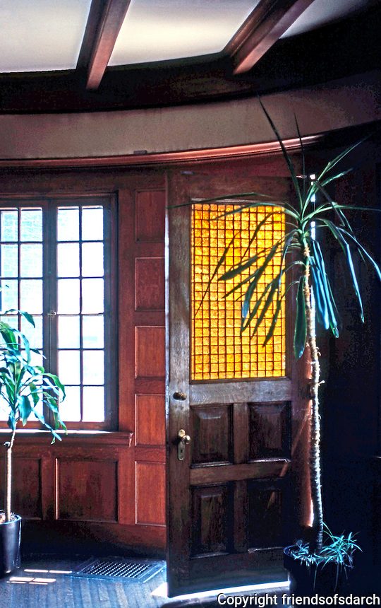 H. H. Richardson: Glessner House, Chicago. Curved door to court.
