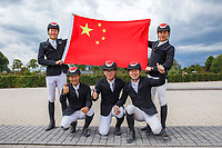 The Peoples Republic of China make the Team Qualification for the 2020 Tokyo Olympic Games. CHN-Yaofeng Li; You Shang; Zhenqiang Li; Tongyan Liu. 2019 NED-FEI Olympic Qualifier for Team Jumping - Group G. Topps International Arena. Valkenswaard. Netherlands. Monday 12 August. Copyright Photo: Libby Law Photography
