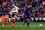 18th March 2018, Camp Nou, Barcelona, Spain; La Liga football, Barcelona versus Athletic Bilbao; Leo Messi of FC Barcelona breaks away from Nunez of Athletic Bilbao