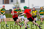 In Action  Kerry's Colm Harty get throw the down defence at the Kerry v Down in the Christy Ring Cup Round 1 at Austin Stack Park on Saturday