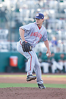 Hagerstown Suns relief pitcher Justin Thomas (45) in action against the Greensboro Grasshoppers at NewBridge Bank Park on May 20, 2014 in Greensboro, North Carolina.  The Grasshoppers defeated the Suns 5-4. (Brian Westerholt/Four Seam Images)