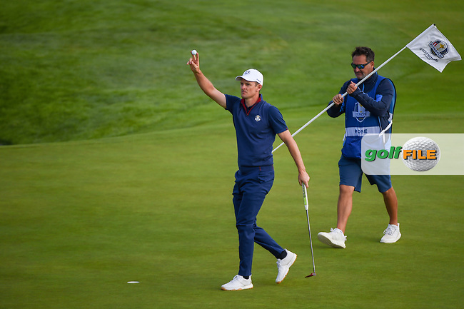 Justin Rose (Team Europe) reacts after sinking his putt on 9 during Friday's foursomes of the 2018 Ryder Cup, Le Golf National, Guyancourt, France. 9/28/2018.<br /> Picture: Golffile | Ken Murray<br /> <br /> <br /> All photo usage must carry mandatory copyright credit (© Golffile | Ken Murray)