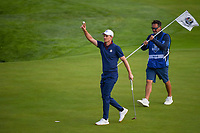 Justin Rose (Team Europe) reacts after sinking his putt on 9 during Friday's foursomes of the 2018 Ryder Cup, Le Golf National, Guyancourt, France. 9/28/2018.<br /> Picture: Golffile | Ken Murray<br /> <br /> <br /> All photo usage must carry mandatory copyright credit (&copy; Golffile | Ken Murray)