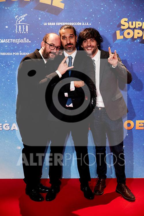 Javier Ruiz Caldera, Dani San Jose and Borja Cobeaga attends to Super Lopez premiere at Capitol cinema in Madrid, Spain. November 21, 2018. (ALTERPHOTOS/A. Perez Meca)