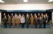 Military Committee Meeting at Chiefs of Staff Level, NATO headquarters, Brussels, Belgium, March 9 and 10, 1999. Back Row left to right:  Vice Admiral W. Herteleer, Belgium; General M. Baril, Canada; General C. Hvidt, Denmark;  General J-P. Kelche, France; General H. Bagger, Germany; General A. Tzoganis, Greece; T. Oskarsson, Director of the Defence Department, Iceland; Admiral G. Venturoni, Italy; Colonel G. Lenz, Luxembourg; General L. Kroon, The Netherlands; General A. Solli, Norway; General G. Espirito Santo, Portugal.   Front Row left to right:  United States General Wesley K. Clark, SACEUR; Major General J. Sedivy, Czech Republic;  Lieutenant General F. Vegh, Hungary; Lieutenant General H. Szumski, Poland; General K. Naumann, Chairman of the Military Committee; General Kivrikoglu, Turkey (Président d'Honneur); General Henry Shelton, United States;   General Sir Charles Guthrie, United Kingdom;  General S. Valderas, Spain;  Admiral Harold Gehman, SACLANT. .Credit: NATO via CNP
