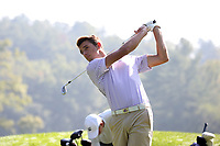 SAPPHIRE, NC - OCTOBER 01: Louis Theys of Western Carolina University tees off at The Country Club of Sapphire Valley on October 01, 2019 in Sapphire, North Carolina.