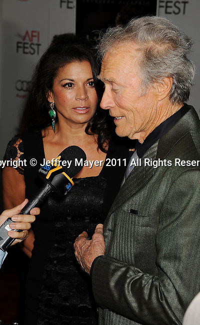 """HOLLYWOOD, CA - NOVEMBER 03: Clint Eastwood attends AFI Fest 2011 Opening Night Gala World Premiere Of """"J. Edgar""""at Grauman's Chinese Theatre on November 3, 2011 in Hollywood, California."""