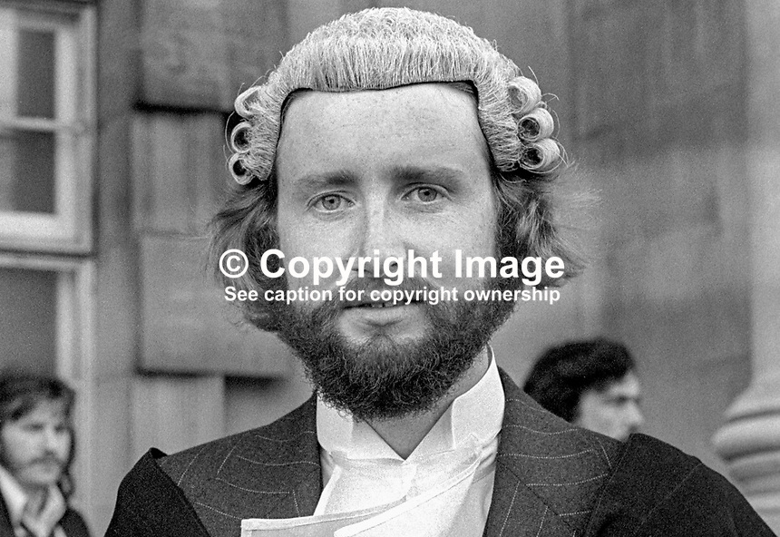 John McCrudden, newly-appointed barrister, High Court, Belfast, N Ireland, 197505110249JMC<br /> <br /> Copyright Image from Victor Patterson, 54 Dorchester Park, Belfast, UK, BT9 6RJ<br /> <br /> Tel: +44 28 9066 1296<br /> Mob: +44 7802 353836<br /> Voicemail +44 20 8816 7153<br /> Skype: victorpattersonbelfast<br /> Email: victorpatterson@me.com<br /> Email: victorpatterson@ireland.com (back-up)<br /> <br /> IMPORTANT: If you wish to use this image or any other of my images please go to www.victorpatterson.com and click on the Terms &amp; Conditions. Then contact me by email or phone with the reference number(s) of the image(s) concerned.