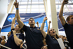 19 MAR 2016: Coaches from the Virginia swim team yell to Leah Smith, not pictured, as she competes in the 1650 Yard Freestyle final during the Division I Women's Swimming & Diving Championship held at the Georgia Tech Aquatic Center in Atlanta, GA. Smith would win the race with a pool record 15:32.72. David Welker/NCAA Photos