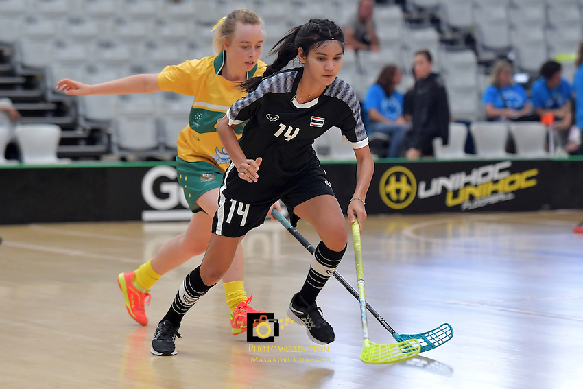 Thailand&rsquo;s Kanyanut Nakpolkrung in action during the World Floorball Championships 2017 Qualification for Asia-Oceania Region - Thailand v Australia at ASB Sports Centre , Wellington, New Zealand on Wednesday 31 January 2017.<br /> Photo by Masanori Udagawa<br /> www.photowellington.photoshelter.com.