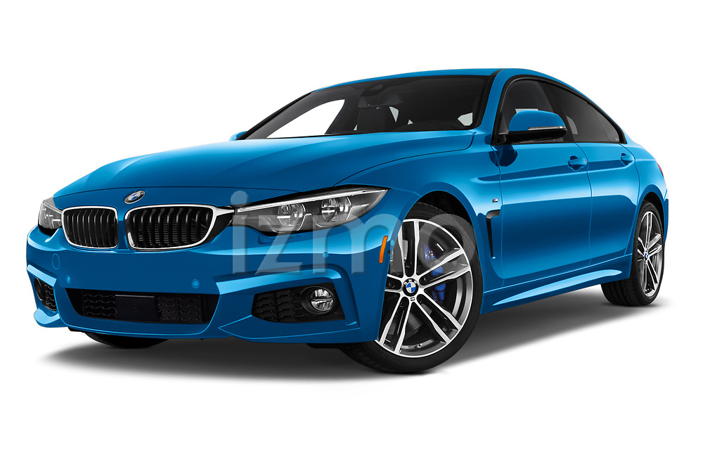Stock pictures of low aggressive front three quarter view of a 2018 BMW 4 Series Gran Coupe 440i M Sport 5 Door Hatchback