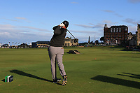 Jon Rahm (ESP) on the 18th tee during Round 3 of the Alfred Dunhill Links Championship 2019 at St. Andrews Golf CLub, Fife, Scotland. 28/09/2019.<br /> Picture Thos Caffrey / Golffile.ie<br /> <br /> All photo usage must carry mandatory copyright credit (© Golffile | Thos Caffrey)
