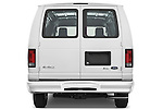 Straight rear view of a 2009 Ford E 150 Cargovan
