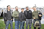 East Meadow, New York, USA. March 31, 2012. The Celtic music group Tin Can Hooley, from Boston, performs at fund raiser for firefighter Ray Pfeifer, at East Meadow Firefighters Benevolent Hall. Will Sullivan, guitarist;  Joe Wyatt, singer/fiddler;  John Donahoe, percussionist; Patrick Kennedy, pianist/singer; and Benny Upton, accordionist and bagpiper. © Ann Parry/Ann-Parry.com