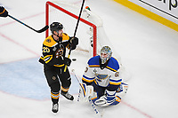 June 6, 2019: St. Louis Blues goaltender Jordan Binnington (50) reacts to a goal as Boston Bruins center Joakim Nordstrom (20) celebrates during game 5 of the NHL Stanley Cup Finals between the St Louis Blues and the Boston Bruins held at TD Garden, in Boston, Mass. The Blues defeat the Bruins 2-1 in regulation time. Eric Canha/CSM