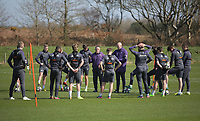 Pictured L-R in purple: Coaches Gary Richards and Cameron Toshack brief their players Friday 24 March 2017<br /> Re: Swansea City U23 training ahead of their International Cup game against Porto, Fairwood training ground, UK