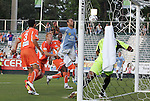 19 May 2012: Puerto Rico's Jonathan Fana (DOM) (9) chests the ball into the net, scoring the game's first goal. The Carolina RailHawks and the Puerto Rico Islanders played to a 1-1 tie at WakeMed Soccer Stadium in Cary, NC in a 2012 North American Soccer League (NASL) regular season game.
