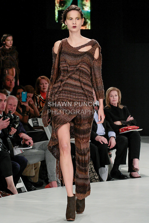 Model walks runway in an outfit by Paola Ricardo, during the 2013 Pratt Institute Fashion Show, on April 25, 2013.