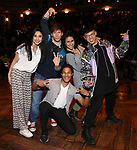 """Lauren Boyd,  Thayne Jasperson, Daniel Yearwood, Gabriella Sorrentino and Preston Mui  during the Q & A before The Rockefeller Foundation and The Gilder Lehrman Institute of American History sponsored High School student #eduHAM matinee performance of """"Hamilton"""" at the Richard Rodgers Theatre on 3/12/2020 in New York City."""