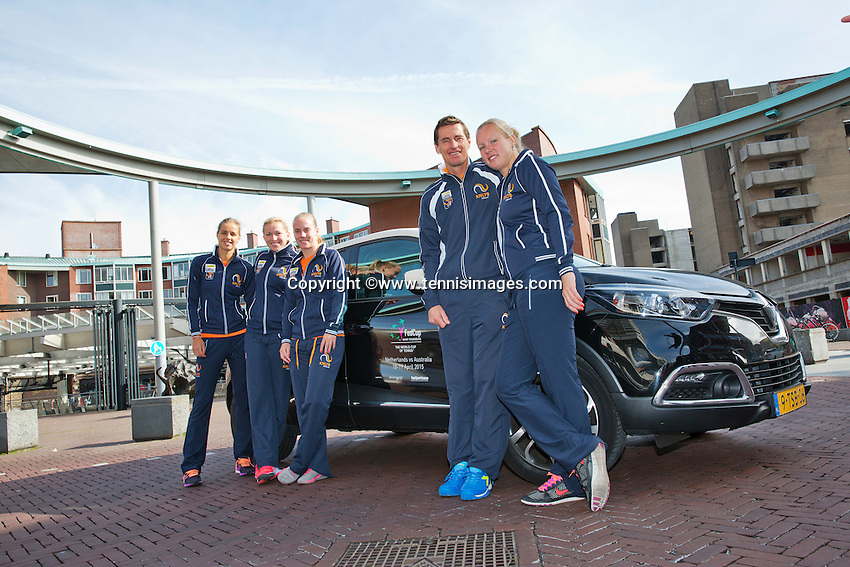 Netherlands, Den Bosch, April 18 2015 Maaspoort, Fedcup Netherlands-Australia,  Dutch team by official car<br /> Photo: Tennisimages/Henk Koster