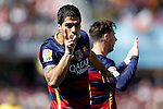FC Barcelona's Leo Messi (r) and Luis Suarez celebrate goal during La Liga match. May 14,2016. (ALTERPHOTOS/Acero)