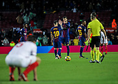 4th November 2017, Camp Nou, Barcelona, Spain; La Liga football, Barcelona versus Sevilla; Lenglet of Sevilla frustarted as he watches Piqué and Messi celebrate at the end of the match