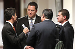 Nevada Assembly Speaker John Oceguera, center, D-Las Vegas, talks with a group of lobbyists Friday, May 27, 2011, at the Legislature in Carson City, Nev. From left, are lobbyists Michael Alonso, Sean Higgins and Alfredo Alonso..Photo by Cathleen Allison