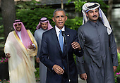 United States President Barack Obama delivers remarks alongside Qatar's Emir Sheikh Tamim bin Hamad Al-Thani, following the Gulf Cooperation Council-U.S. summit at Camp David on May 14, 2015. Obama hosted leaders from Saudi Arabia, Kuwait, Bahrain, Qatar, the United Arab Emirates and Oman to discuss a range of issues including terrorism and the U.S.-Iran nuclear deal. <br /> Credit: Kevin Dietsch / Pool via CNP