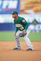 Lynchburg Hillcats second baseman Claudio Bautista (10) during a game against the Wilmington Blue Rocks on June 3, 2016 at Judy Johnson Field at Daniel S. Frawley Stadium in Wilmington, Delaware.  Lynchburg defeated Wilmington 16-11 in ten innings.  (Mike Janes/Four Seam Images)