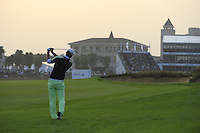 Marcel Siem (GER) plays his 2nd shot on the 18th hole during Sunday's Final Round of the 2014 BMW Masters held at Lake Malaren, Shanghai, China. 2nd November 2014.<br /> Picture: Eoin Clarke www.golffile.ie