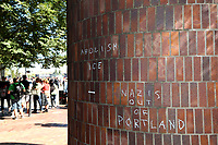 PORTLAND, OR - AUGUST 04: A message chalked into a brick wall by counter demonstrators against far-right groups rallying for gun rights' laws and free speech on August 4, 2018 in Portland, Oregon. (Photo by Karen Ducey/Getty Images)