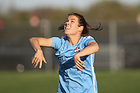 Piscataway, NJ, April 24, 2016. Sky Blue FC defender Kelley O'Hara (19) takes a throw in. The Washington Spirit defeated Sky Blue FC 2-1 during a National Women's Soccer League (NWSL) match at Yurcak Field.