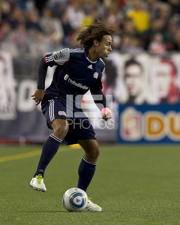 New England Revolution defender Kevin Alston (30) traps the ball.  In a Major League Soccer (MLS) match, the Columbus Crew defeated the New England Revolution, 3-0, at Gillette Stadium on October 15, 2011.