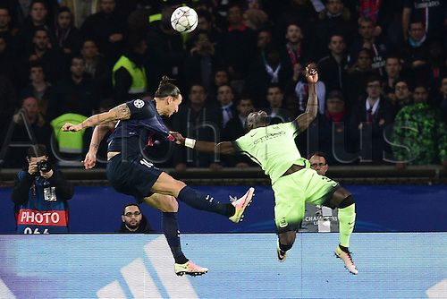 06.04.2016. Paris, France. UEFA CHampions League, quarter-final. Paris St Germain versus Manchester City.  Zlatan Ibrahimovic (PSG) and Eliaquim Mangala (Manchester City)