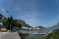 Rio de Janeiro. BRAZIL.   GENERAL VIEW OF THE START AREA, AT THE  2016 Olympic Rowing Regatta. Lagoa Stadium,<br /> Copacabana,  &ldquo;Olympic Summer Games&rdquo;<br /> Rodrigo de Freitas Lagoon, Lagoa. Local Time 12:04:54   Saturday  06/08/2016 <br /> <br /> [Mandatory Credit; Peter SPURRIER/Intersport Images]