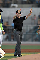 Umpire John Budka Jr. works a game between the Lexington Legends and Columbia Fireflies on Thursday, June 8, 2017, at Spirit Communications Park in Columbia, South Carolina. Columbia won, 8-0. (Tom Priddy/Four Seam Images)