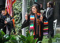 Maira Solis graduates during Occidental College's Commencement for the class of 2015 in the Remsen Bird Hillside Theater, Sunday, May 17, 2015.<br /> (Photo by Marc Campos, Occidental College Photographer)